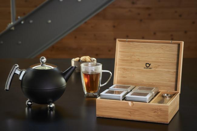 Coffret à thé bambou +4 boîtes +cuillère