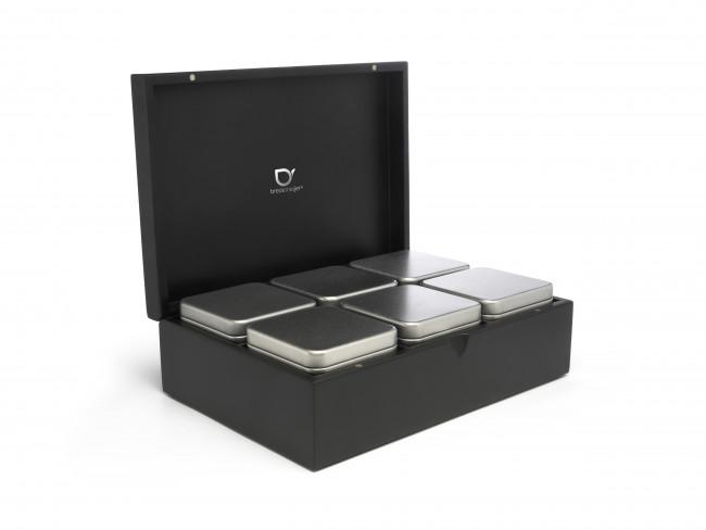 Coffret à thé contenant 6 boîtes noir