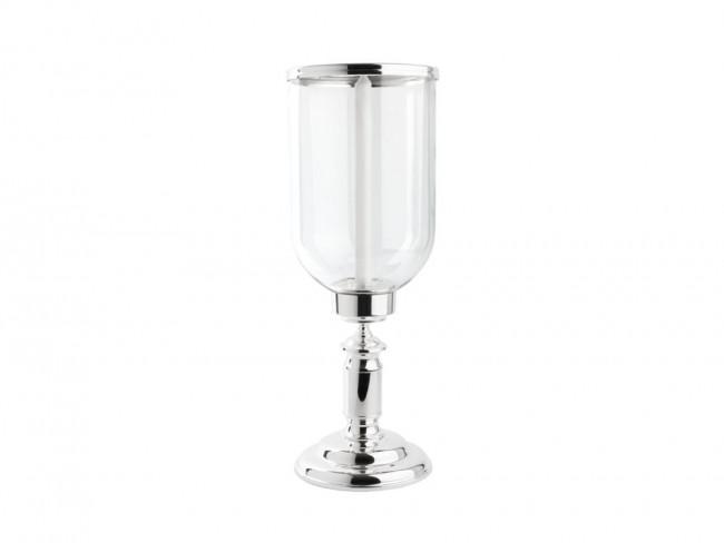 Photophore Icona, verre/pied arg./laq., Ø19x51,5cm
