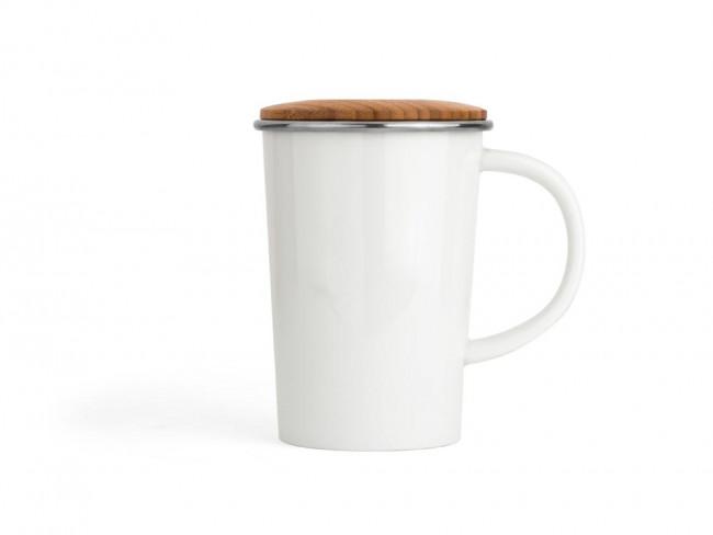 Mug Bamboo 400ml blanc, filtre + couvercle