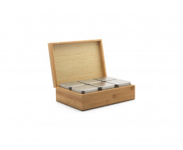 Coffret à thé Bambou contenant 6 boîtes